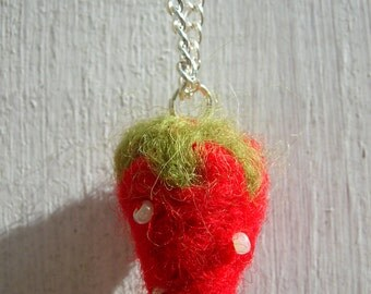 Strawberry Felted Pendant Necklace