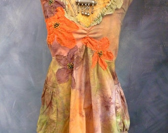 Handbeaded batik top in cotton size L to XL glass beads silk tie dye peach OOAK olive and tangerine top