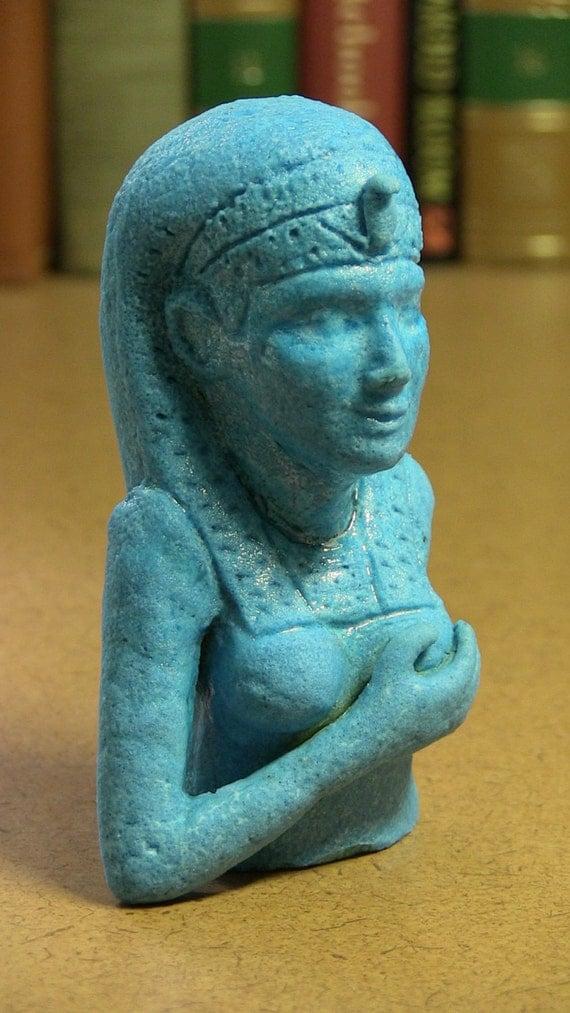 Custom Order, Egyptian artifact replica, Isis Figure, Egyptian Paste (fired ceramic).