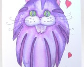 cat art card / purple with hearts / sentimental / sweet feline / all occasion / blank inside / valentine / mother day / blank inside / C143