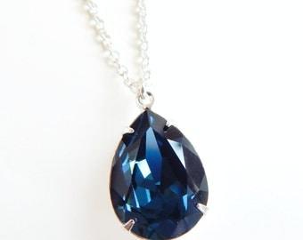 Navy blue crystal drop necklace - montana blue - bridal jewelry - dark sapphire - Swarovski necklace