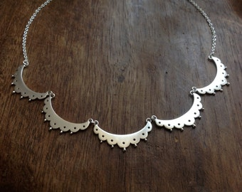 Eyelet lace collar necklace - sterling silver lace bib necklace
