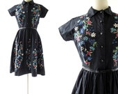 Vintage 50s Dress | Black Floral Dress | 1950s Cotton Dress | Small S