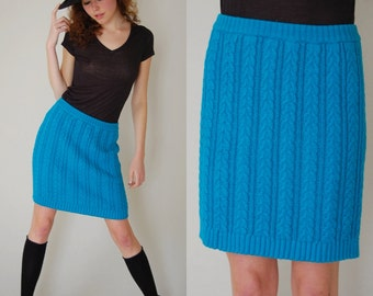 Sweater Mini Skirt Vintage 80s Teal Green Sweater Knit CONTEMPO CASUALS Indie Boho Micro Mini Skirt (s m)