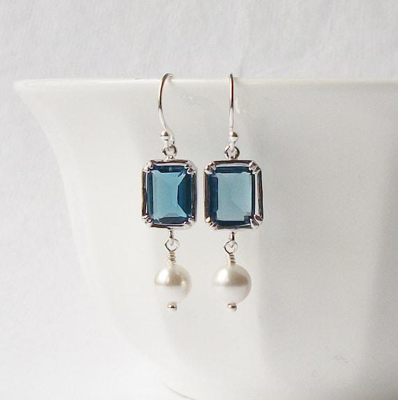 Sapphire Blue Crystal Pearl Dangle Earrings