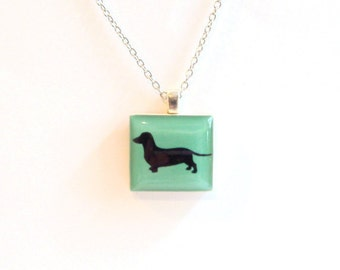 Dachshund Necklace - Weiner Dog Jewellery - Doxie Dog Silhouette Necklace - Black Silhouette Custom Dog Pendant - Resin Dog Necklace -