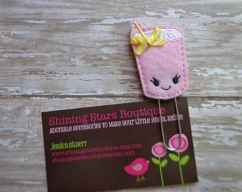 Felt Planner Clips - Pink Lemonade With A Smiley Face Paper Clip Or Bookmark - Food Or Drink Accessories For Planners, Calendars, Or Books
