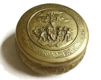 Vintage Repousse Brass look Cupid Trinket or Powder Box