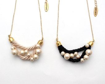 Cotton Pearl Wing Necklace