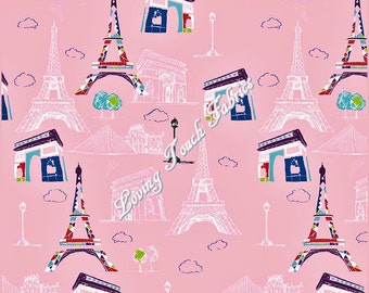 "Riley Blake ""Pepe In Paris"" C3790 Pink Eiffel Tower France Scenic Cotton Fabric Priced Per Yard"