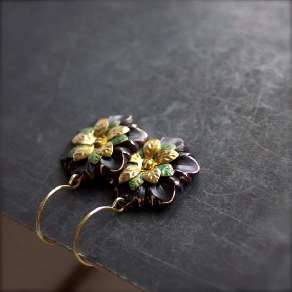 Navy Blue Green Dangle Drop Earrings Layered Flowers Rustic Patina Riveted Cold-Connection Floral Garden Jewellery