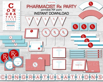 Rx Pharmacist Party or Pharmacy School Graduation Party - INSTANT DOWNLOAD - Print at Home PDF Files
