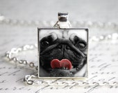 "Pug 1"" Square Pendant Necklace - LAST ONE - With Paw Print Organza Bag"