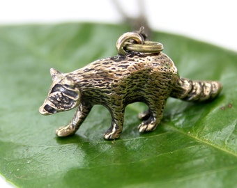 Two for One Sale...Raccoon Necklace in Solid Bronze 482