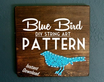 String Art Pattern - Set of 2 - Blue Bird Silhouette Downloadable PDF