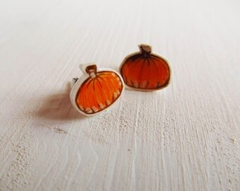Handmade pumpkin earring studs