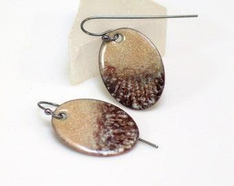 Shades of Nature Dangle Earrings, Copper Enamel Art Jewelry, Glass on Metal Originals, Handmade Artisan Earrings, Landscape Impression