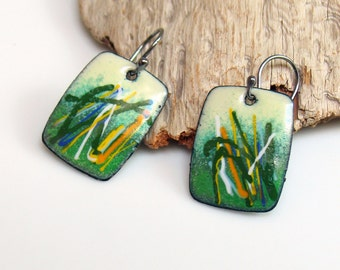 Copper Enameled Original Earrings, Inspired by Nature and Ready to Ship, One of a Kind Handmade, Grasses Abstraction, Vitreous Enamels