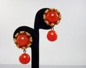 Tangerine Art Glass Earrings, Clip Earrings, Mid Century Jewelry, 1950's Jewelry, Signed Costume Jewelry