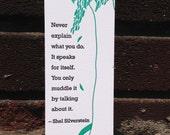 Letterpress Bookmark - Shel Silverstein Quote