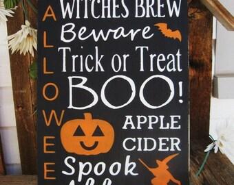 Primitive Halloween Subway Art Typography Sign Witches Brew Trick or Treat Beware Boo! Pumpkin JOL