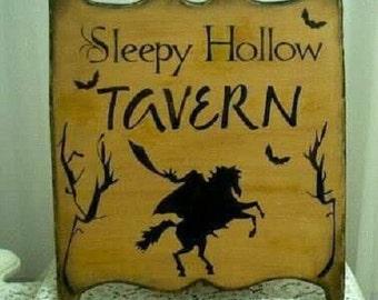 Primitive Halloween Plaque Sign Sleepy Hollow Tavern Headless Horseman