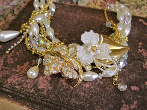 Heaven Sent Hibiscus: Wedding Necklace Vintage Assemblage Statement Choker Boho Bride Floral Crystal Pearl Aurora Borealis ONE of a KIND