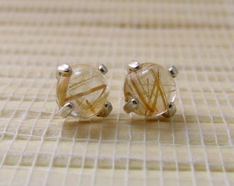 Rutilated Quartz Cabochon Stud Sterling Silver Earrings 6mm