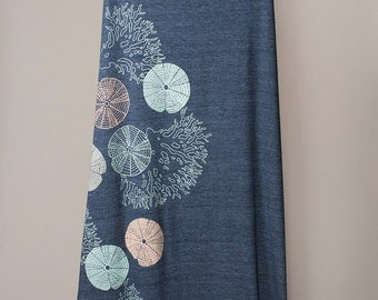 maxi skirt, long skirt, sea urchins and coral, marine life, aquatic