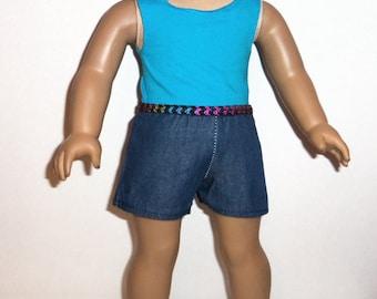 Shorts Outfit, Cotton Tank Top, 18 inch Doll , Denim Pants, Aqua Blue Shirt,  American Made, Girl Doll Clothes, Summer Wardrobe