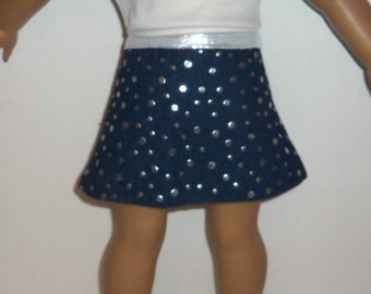 18 inch Doll Skirt, Embossed Denim, American Made, Girl Doll Clothes, Denim Skirt