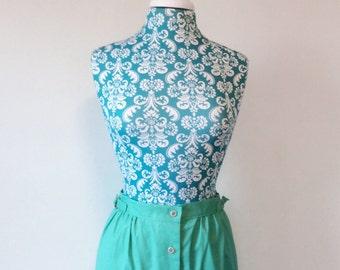 vintage womens skirt // aqua button front 1970s Spring Summer 70s skirt