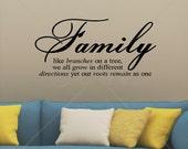 Family like branches on a tree we all grow in different directions yet our roots remain as one vinyl lettering sticker wall decal quote