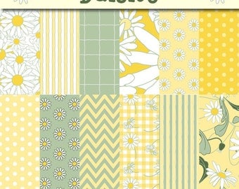 Flowers - Daisy Scrapbook Paper - Floral Digital Paper Pack - summery yellow and green paper - 12 Original Papers - Instant Download -