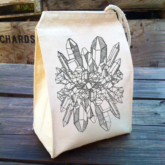 Eco Quartz Crystal Lunch Bag geology design, Boho Chic Recycled Cotton Canvas Snack sack rope handle, velcro, and silver glitter sparkle ink