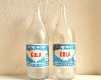 SALE - Pair of Large Vintage Clear Glass Soda Pop Bottles Cragmont Cola Rare Hard to Find