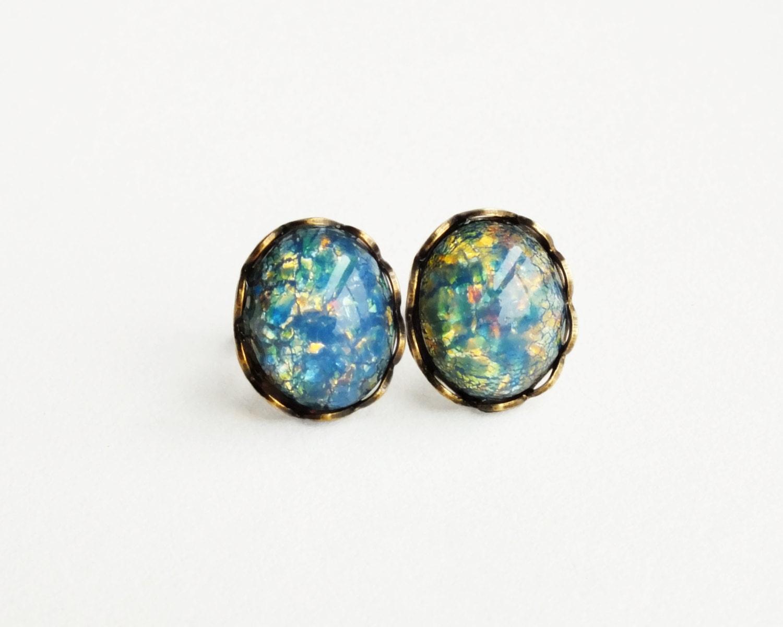 Blue Opal Stud Earrings Vintage Glass Harlequin Fire Opal Post
