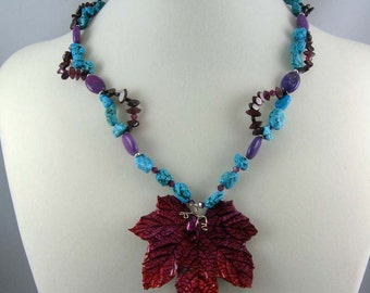 Real Maple Leaf necklace, turquoise and garnet beads with pink leaf pendant, statement jewelry