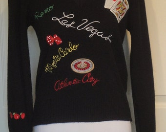 Vintage Embroidered Gambling Theme Sweater Black Pullover Sir Robert Originals S