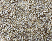 6/0 (1.6mm hole) Opaque White Picasso Czech MATUBO Pressed Glass Seed Beads 10 Grams (CS131)