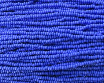8/0 Opaque Blue Czech Glass Seed Bead Strand (CW83)