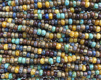 2/0 (6x4mm with 1.8mm Hole) Opaque Caribbean Blues Picasso Mix Czech Glass Seed Beads - 10 Inch Strand (DW181)