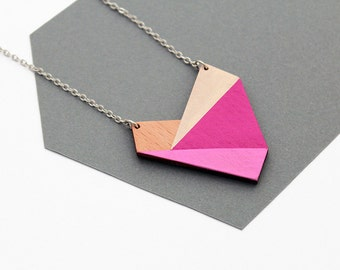 Geometric wooden heart necklace - nude, rose, pink, natural wood - minimalist, modern jewelry - color blocking