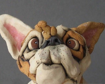 Bulldog Balancing Dog Treat on Nose Whimsical Ceramic Sculpture