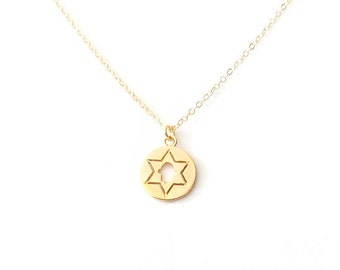 Minimalist Gold Chain Charm Pendant Necklace - Gold - The Basics: Star of David Hamsa Hand of Fatima Hand of Miriam