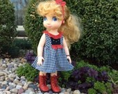 Handmade Dress fits Disney Animator Dolls,Black and White Gingham incl Headband and Bracelet