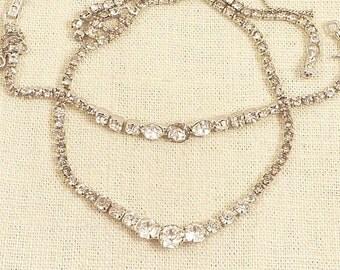 Elegant Vintage Rhinestone Necklace and Bracelet Demi Parure