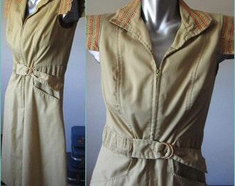 Vintage Cap Sleeved Khaki Tan Dress with Rainbow Embroidered Stripe Detail