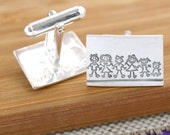 Personalised 'My Family' Silver Cufflinks - Father's Day Cuff links, gift for dad, stick figure cufflinks