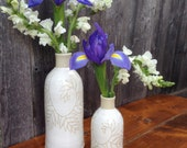 Handmade White Pottery Vases, Set of 2